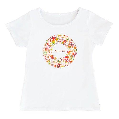 【2Lサイズ】半袖 白色 フラTシャツ ハワイアンリース柄 anuenue(アーヌエヌエ)