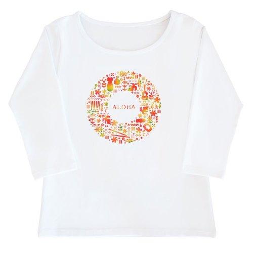 【2Lサイズ】七分袖 白色 フラTシャツ ハワイアンリース柄 anuenue(アーヌエヌエ)