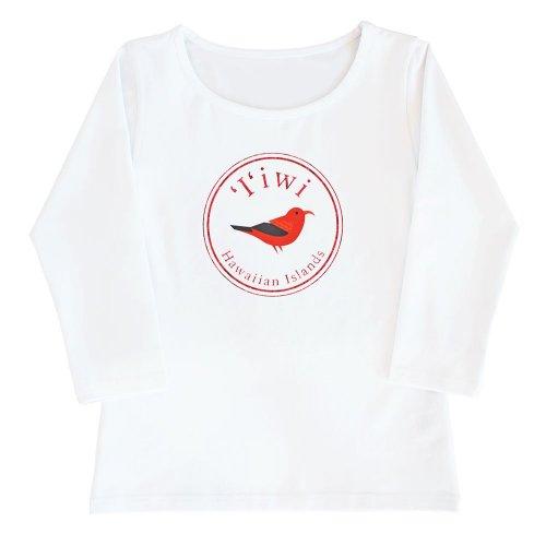 【2Lサイズ】七分袖 白色 フラTシャツ イイヴィ柄