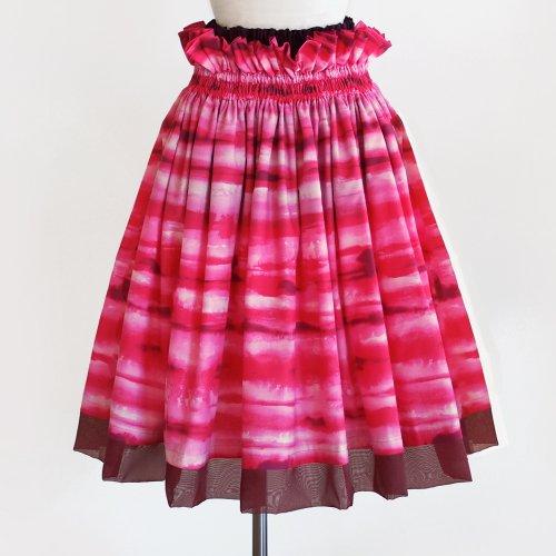 ウエストフリルパウスカート 裾オーガンジー切替 追憶の海 ピンク