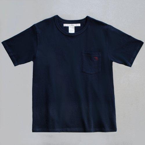 """【CORTADO】T-shirt 7.8oz navy """"departure"""" with pocket"""