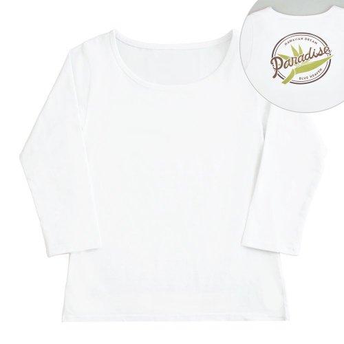 <img class='new_mark_img1' src='https://img.shop-pro.jp/img/new/icons6.gif' style='border:none;display:inline;margin:0px;padding:0px;width:auto;' />【Sサイズ】七分袖 白色 フラTシャツ [フロント 無地 / バック バードオブパラダイス]