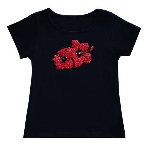 <img class='new_mark_img1' src='https://img.shop-pro.jp/img/new/icons6.gif' style='border:none;display:inline;margin:0px;padding:0px;width:auto;' />【Sサイズ】半袖 黒色 フラTシャツ ハイビスカス柄C(赤)