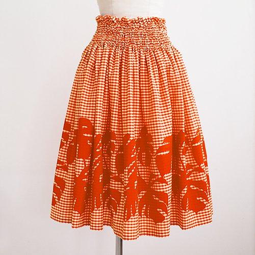 ディープオレンジ ギンガムチェック×モンステラ パウスカート [5色展開]