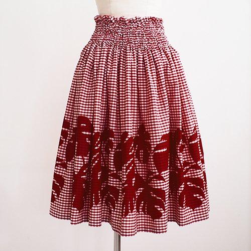 マルーン(赤褐色) ギンガムチェック×モンステラ パウスカート [5色展開]
