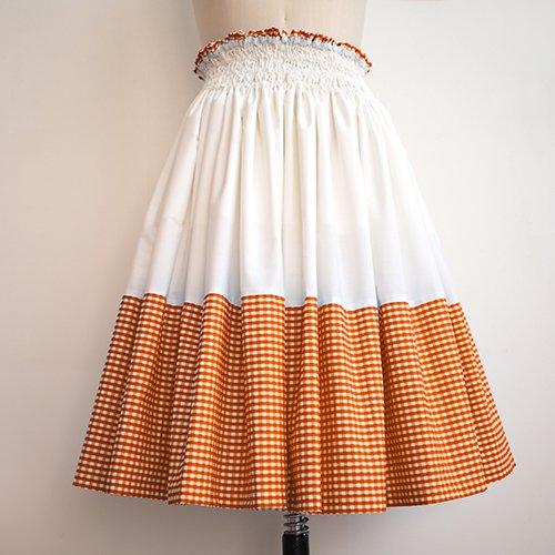 オレンジ ギンガム×オフ パウスカート