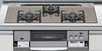 ハーマン製(LIXIL)H3735D1W2T 3口コンロ・ガラストップ・スタイリッシュタイプ ●ガスコンロ