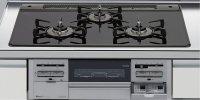 リンナイ製(LIXIL)R3734B0W1V 3口コンロ・ガラストップタイプ ●ガスコンロ