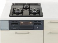 ハーマン製(Panasonic)QSEG32N1N ブラック 3口コンロ・ホーロートップタイプ ●ガスコンロ