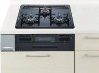 ハーマン製(Panasonic)QSEW32Q5W ブラック 3口コンロ・ホーロートップタイプ ●ガスコンロ