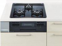 ハーマン製(Panasonic)LEEW32Q6W ブラック 3口コンロ・ガラストップタイプ ●ガスコンロ