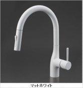 KVK製(KVK)KM6061ECM4 マットホワイト 流し台用シングルレバー式シャワー付混合栓 ◎キッチン水栓 一般地用