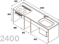 DIYキッチン I型240cmプランキット ※納期約3週間