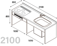 DIYキッチン I型210cmプランキット ※納期約3週間