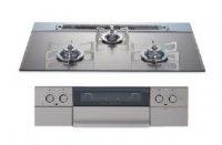 ハーマン製(NASLUCK)DS3609WASKSTES シルバー ガラストップ(親水アクアコート) ●ガスコンロ