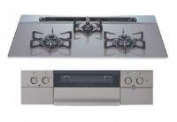 ハーマン製(NASLUCK)DS3608WAS6STE グレー ガラストップ(親水アクアコート) ●ガスコンロ