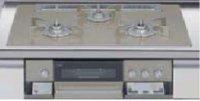 リンナイ製(LIXIL)R3736E1W8S   3口コンロ・ガラストップ・スタイリッシュタイプ 無水両面焼グリル  トップ間口75cm ●ガスコンロ  ※納期約2週間