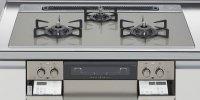 ハーマン製(LIXIL)H3735H1W2T   3口コンロ・ガラストップタイプ 無水両面焼グリル  トップ間口75cm ●ガスコンロ