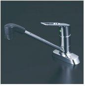 KVK製(KVK)KM5081TFEC シングルシャワー付混合栓(eレバー)  260�パイプ付 ◎キッチン水栓 一般地用
