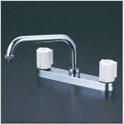 KVK製(KVK)KM8GN 2ハンドル混合栓(取付ピッチ204mm)200mmパイプ付 ◎キッチン水栓 一般地用