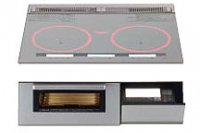 パナソニック製(WOODONE)UDIP004-6N-VV シルバー 3口IH シングルオールメタル ▽IHクッキングヒーター