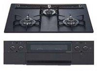 ハーマン製(WOODONE)UDGH012-6(A/L)N-KK ブラック  アルミトップ水無し両面焼グリル[piattoラックリーナ] ●ガスコンロ