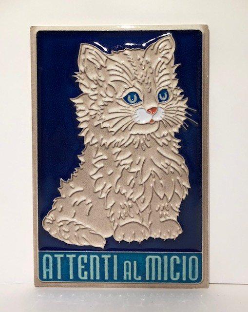陶器製猫ちゃん壁掛け・Attenti al Mici...