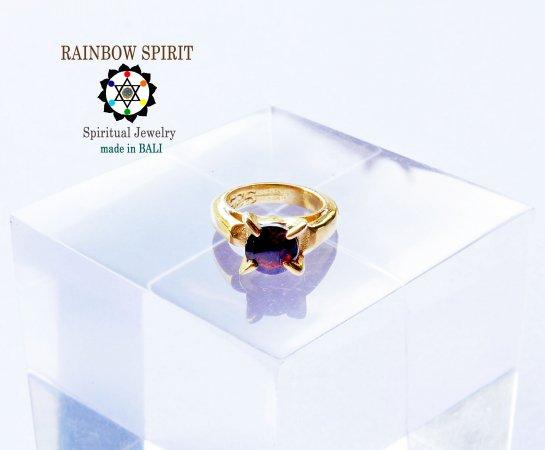 [GOLD K24RGP]純金コーティングペンダント/金のベビーリング(ガーネット・1月の誕生石)★バリ島からお届…