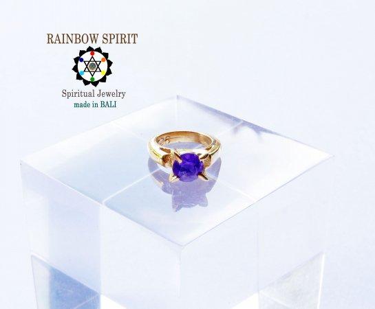 [GOLD K24RGP]純金コーティングペンダント/金のベビーリング(アメジスト・2月の誕生石)★バリ島からお届…