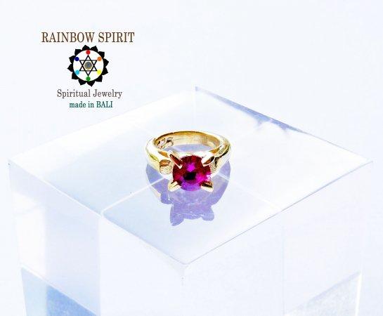 [GOLD K24RGP]純金コーティングペンダント/金のベビーリング(ルビー・7月の誕生石)★バリ島からお届け