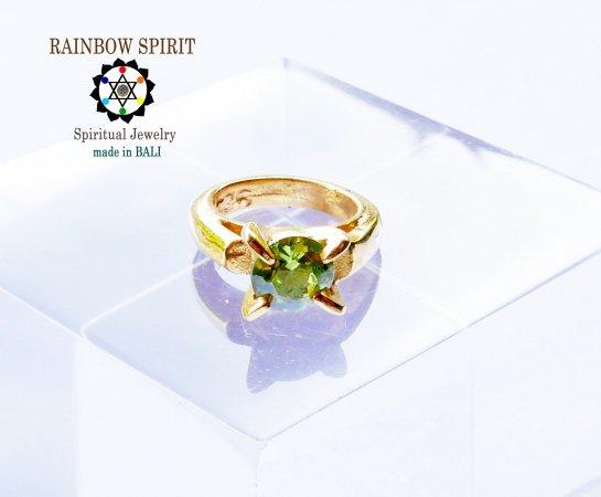 [GOLD K24RGP]純金コーティングペンダント/金のベビーリング(ペリドット・8月の誕生石)★バリ島からお…