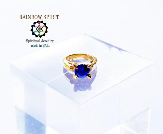 [GOLD K24RGP]純金コーティングペンダント/金のベビーリング(ブルーサファイア・9月の誕生石)★バリ島からお届…