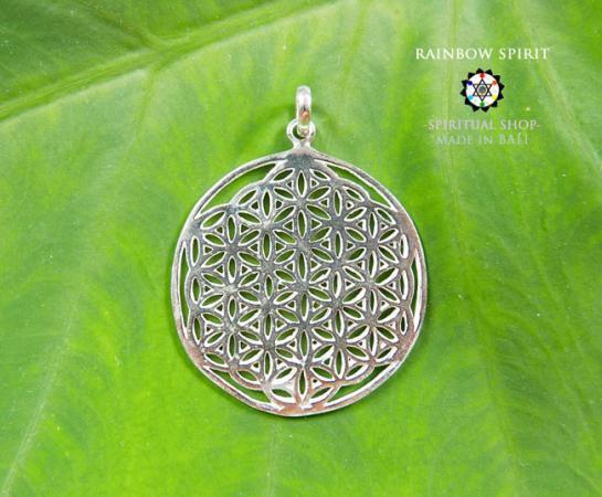 [プラチナコーティング / Pt1000PP]Flower of Lifeプラチナコーティングペンダント・32mm(神聖幾何学フラワーオブライフ:生命の花…