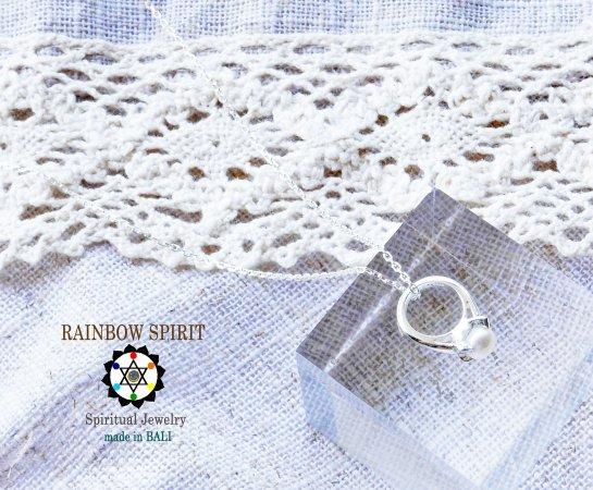 [Silver925]パール(真珠)のシルバーベビーリング・シルバーチェーン付き(6月の誕生石)