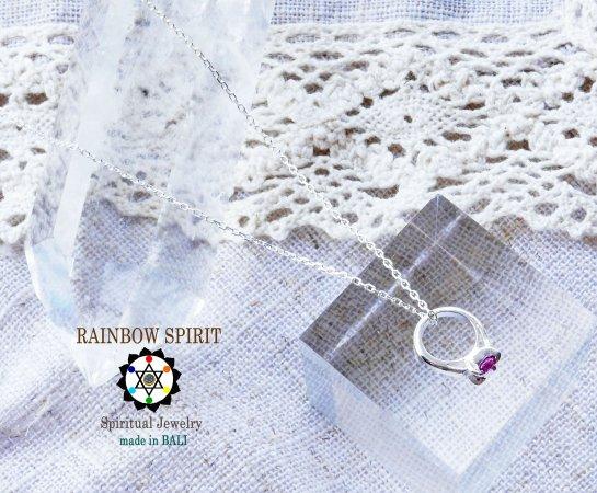 [Silver925]ルビーのシルバーベビーリング・シルバーチェーン付き(7月の誕生石)