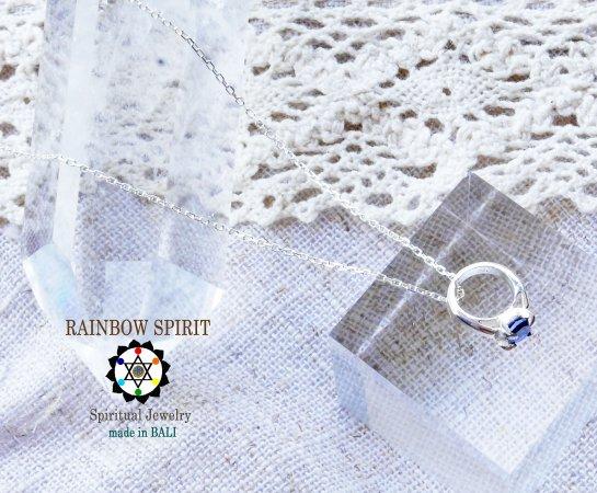 [Silver925]ブルーサファイアのシルバーベビーリング・シルバーチェーン付き(9月の誕生石)