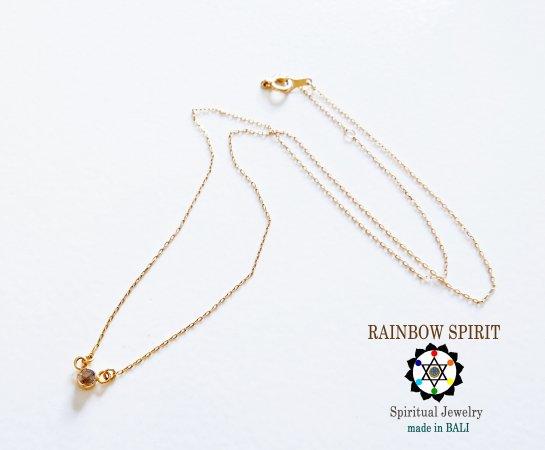 【GOLD K18YG】 ブラックダイヤモンドの18金・イエローゴールドネックレス(直径3mm)(K18刻印あり)