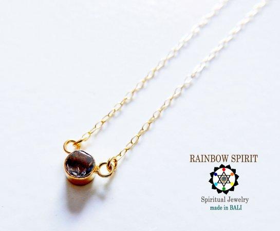 【GOLD K18YG】 ブラックダイヤモンドの18金・イエローゴールドネックレス(直径4mm)(K18刻印あり)