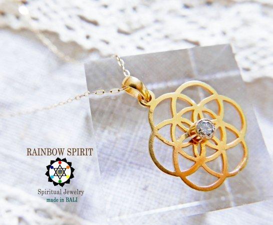 【GOLD K18YG】 神聖幾何学Seed of Lifeのダイヤモンドのイエローゴールドネックレス(K18刻印あり)