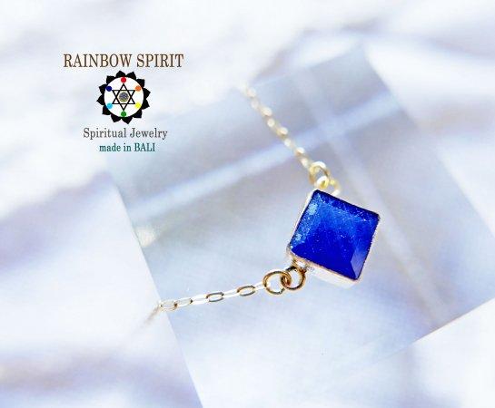 【GOLD K18YG】 ブルーサファイアの18金・イエローゴールドネックレス(9月の誕生石)(K18刻印あり)