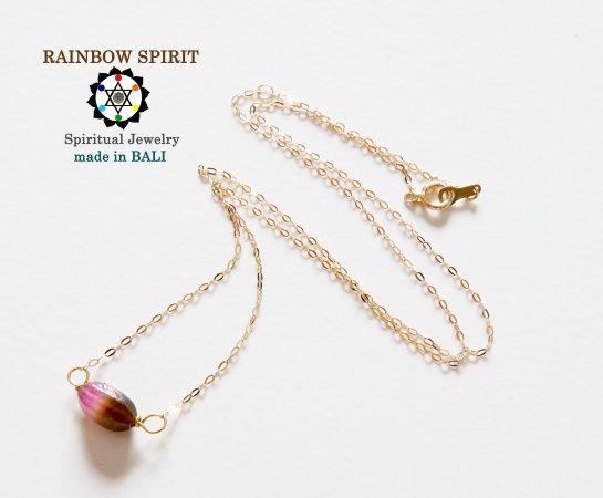 【GOLD K18YG】ピンク&グリーントルマリンの18金・イエローゴールドネックレス(K18刻印あり)