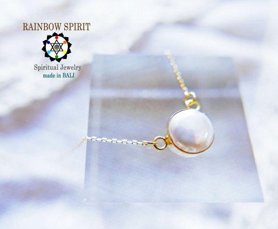 [K18YG]パール(真珠)の18金イエローゴールドネックレス(K18刻印あり)