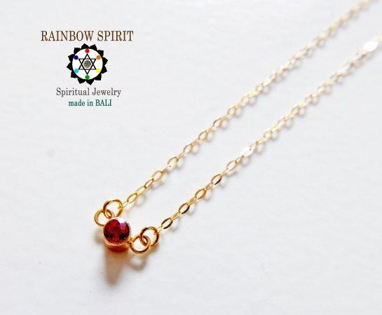 【GOLD K18YG】 レッドサファイアの18金・イエローゴールドのネックレス(K18刻印あり)(直径3mm)