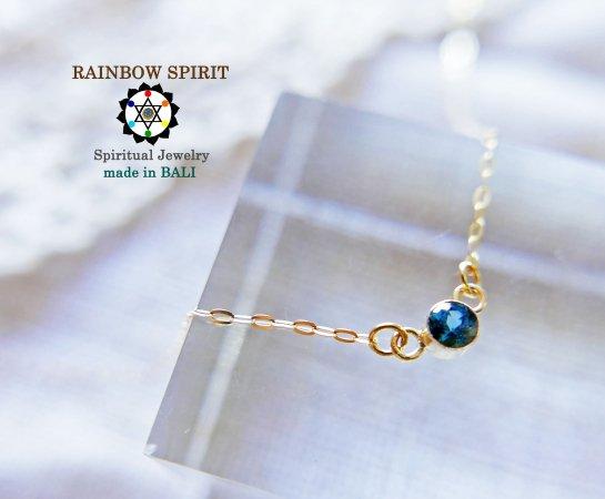 【GOLD K18YG】 ルベライトの18金・イエローゴールドネックレス(K18刻印あり)(直径3mm)