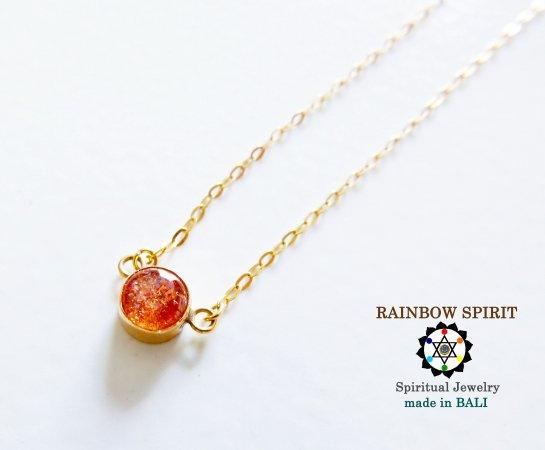 [GOLD K18YG]サンストーンの18金イエローゴールドネックレス(K18刻印あり)(直径5mm)