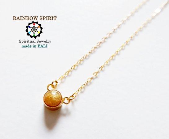 [GOLD K18YG]ゴールデンルチルクォーツ(針入り水晶)の18金・イエローゴールドネックレス(K18刻印あり)(直径5m…
