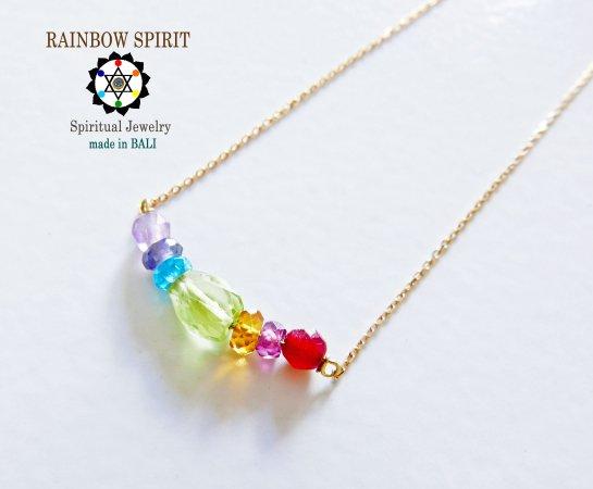 【GOLD K18YG】7つの宝石のレインボー・虹・RAINBOWの18金・イエローゴールドネックレス(K18刻印あり)