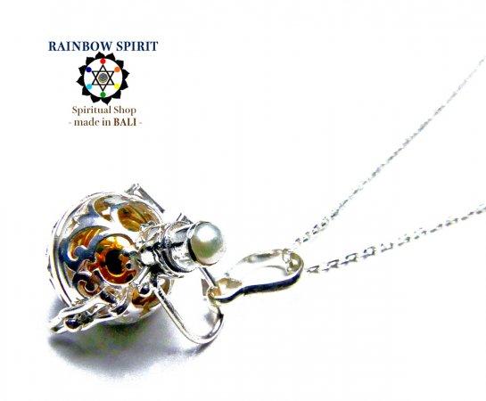 ★お得なシルバーチェーン付き★[Silver925]6月の誕生石パール(真珠)のガムランボール(極小SSサイズ/オープンタイ…