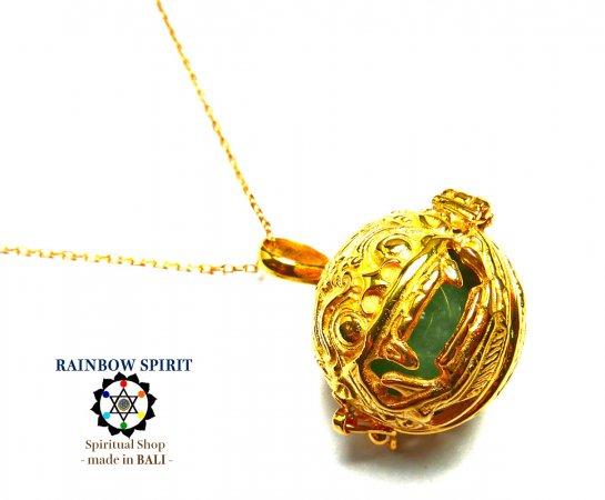 [K24RGP]バリ島の神様「バロン」の中身が取り出せる純金コーティングネックレス(アベンチュリン)