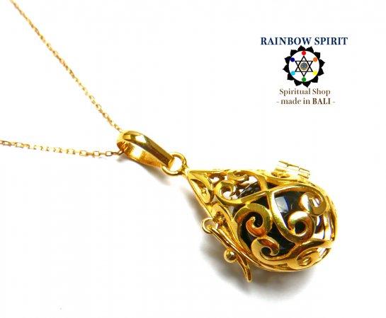 [GOLD K24RGP]中身が取り出せる純金コーティングネックレス(オニキス/黒瑪瑙)